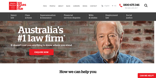 Maurice Blackburn law firm website homepage.