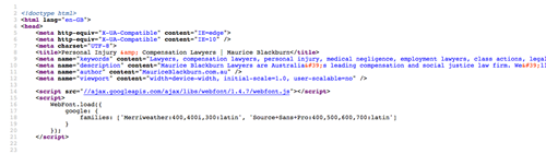 Source code of a law firm website showing head section and meta tags.