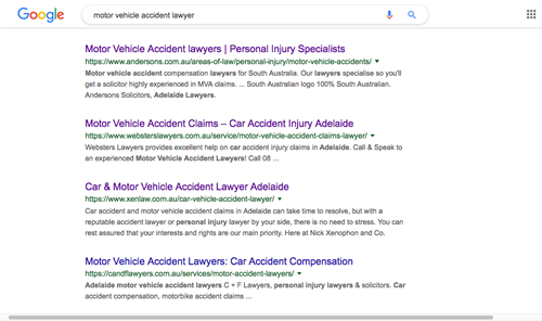 "Google Australia search results for ""Motor Vehicle Accident Lawyer"", Adelaide area."