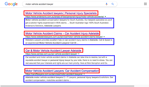 "Google search result for ""Motor Vehicle Accident Lawyer"", Adelaide, with titles and descriptions highlighted."