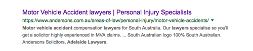 "Single law firm search result for keyword search, ""Motor Vehicle Accident Lawyer""."