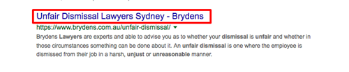 "Highlighted title link in Google SERP for ""unfair dismissal solicitor sydney""."