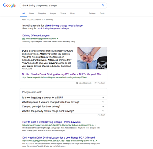 "Google SERP for ""dunk driving charge need a lawyer"""