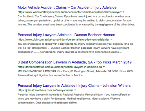 "Google SERP for ""car accident lawyer"" for desktop view."