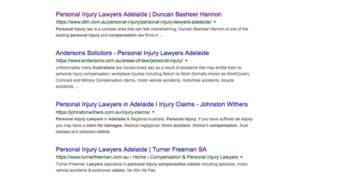 "Google SERP for ""personal injury lawyer adelaide""."