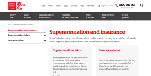 Law firm website services page for superannuation insurance practice.