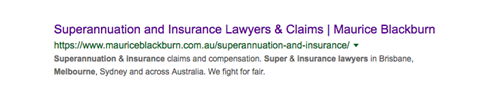 "Search engine listing for ""superannuation insurance lawyer melbourne"" search."