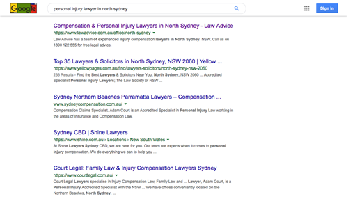 "Google SERP for keyword search, ""personal injury lawyer north sydney""."