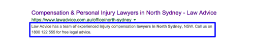 "SERP listing with highlighted snippet for keyword search, ""personal injury lawyer north sydney""."
