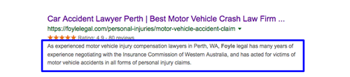 "Google SERP listing for keyword search, ""car accident lawyer perth"", with snippet highlighted."
