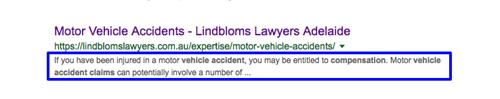 SERP listing with snippet aggregated from first paragraph content on destination page.
