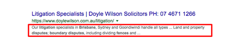 "Poor search snippet result for Google search, keyword: ""fence dispute lawyer brisbane"""
