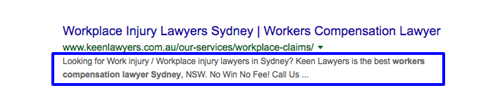 "Effective search snippet for keyword search, ""workplace injury lawyer sydney""."