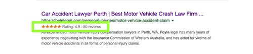 Example of search snippet including star ratings from rich snippet markup.