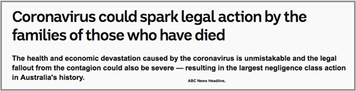 ABC News Headline: Coronavirus could spark legal actions.